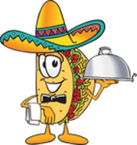 Clip Art Graphic of a Crunchy Hard Taco Character
